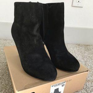 Black suede Zara ankle booties